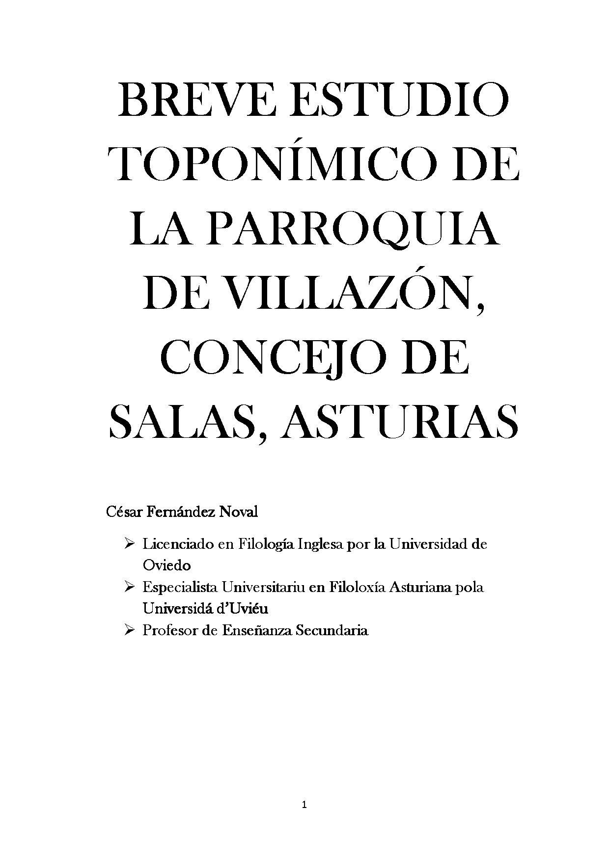 BREVE ESTUDIO TOPONÍMICO DE LA PARROQUIA DE VILLAZÓN, CONCEJO DE SALAS, ASTURIAS
